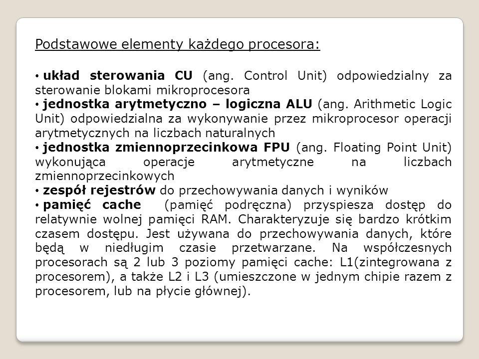 Podstawowe elementy każdego procesora: układ sterowania CU (ang. Control Unit) odpowiedzialny za sterowanie blokami mikroprocesora jednostka arytmetyc