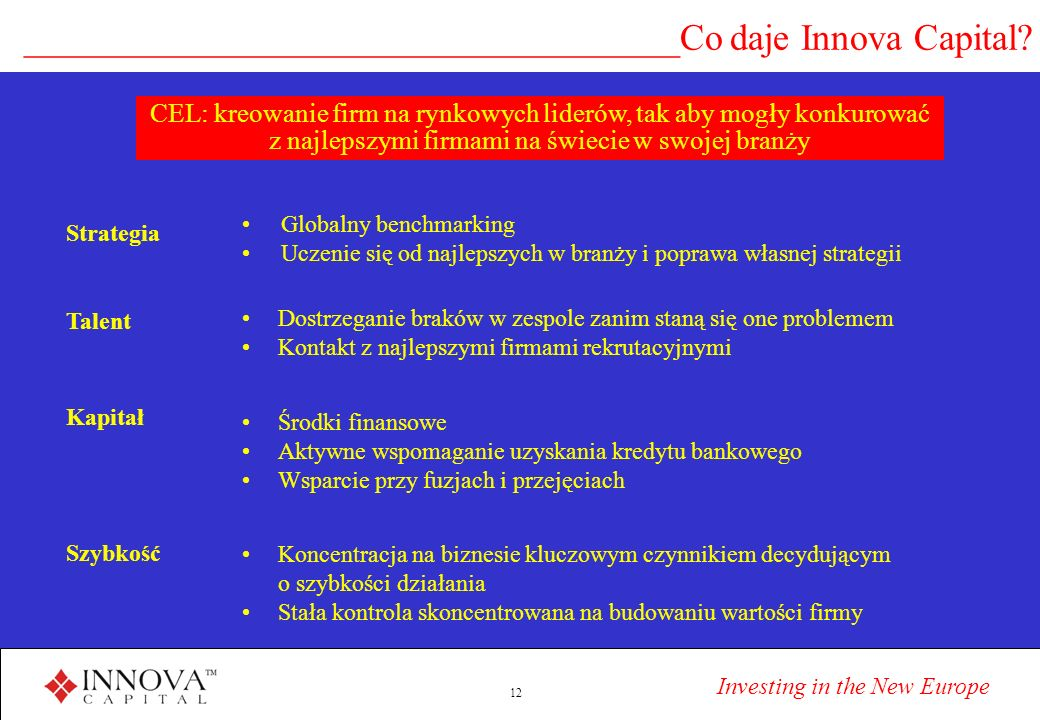 Investing in the New Europe 12 ___________________________________Co daje Innova Capital.