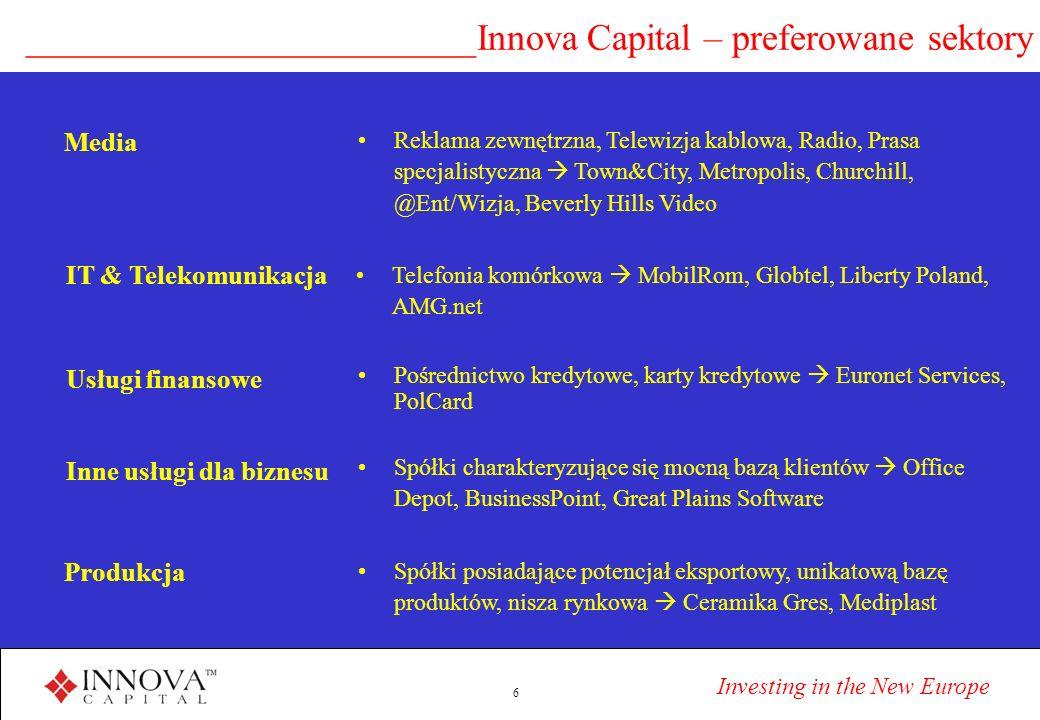 Investing in the New Europe 6 ________________________Innova Capital – preferowane sektory IT & Telekomunikacja Telefonia komórkowa MobilRom, Globtel, Liberty Poland, AMG.net Usługi finansowe Pośrednictwo kredytowe, karty kredytowe Euronet Services, PolCard Inne usługi dla biznesu Spółki charakteryzujące się mocną bazą klientów Office Depot, BusinessPoint, Great Plains Software Produkcja Spółki posiadające potencjał eksportowy, unikatową bazę produktów, nisza rynkowa Ceramika Gres, Mediplast Reklama zewnętrzna, Telewizja kablowa, Radio, Prasa specjalistyczna Town&City, Metropolis, Churchill, @Ent/Wizja, Beverly Hills Video Media