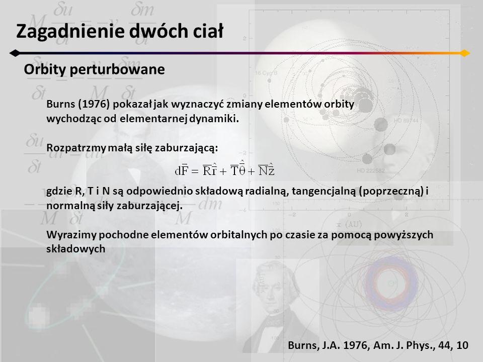 Zagadnienie dwóch ciał Orbity perturbowane Burns (1976) pokazał jak wyznaczyć zmiany elementów orbity wychodząc od elementarnej dynamiki. Rozpatrzmy m