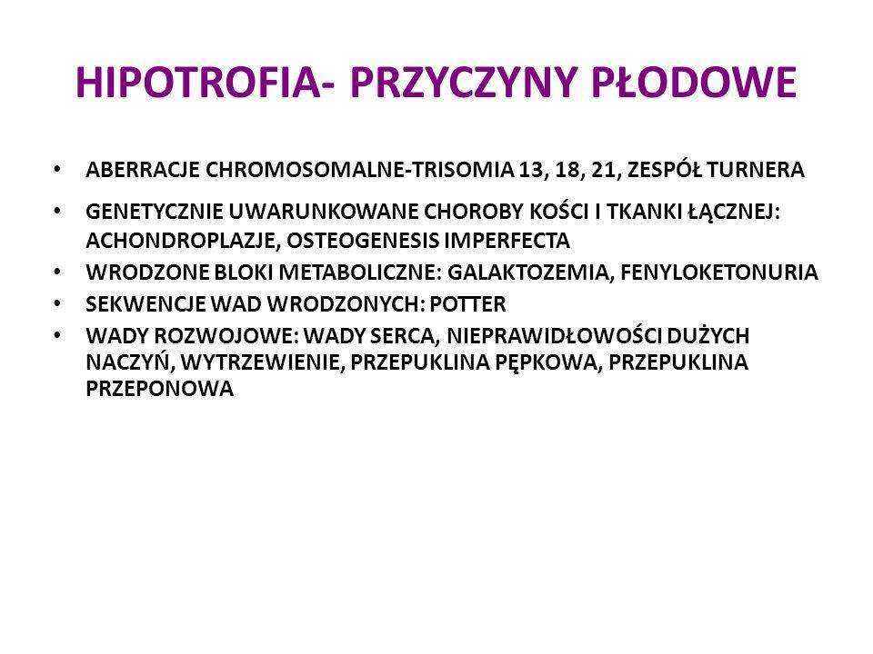 HIPOTROFIA- PRZYCZYNY PŁODOWE ABERRACJE CHROMOSOMALNE-TRISOMIA 13, 18, 21, ZESPÓŁ TURNERA ABERRACJE CHROMOSOMALNE-TRISOMIA 13, 18, 21, ZESPÓŁ TURNERA