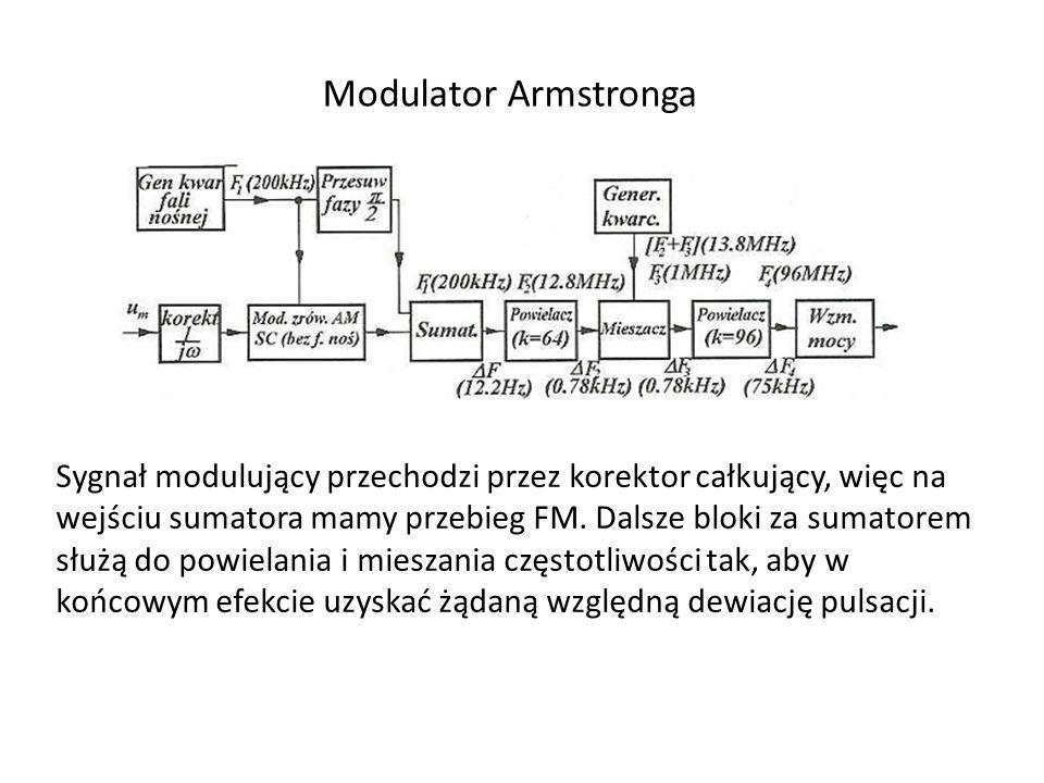 Modulator Armstronga Sygnał modulujący przechodzi przez korektor całkujący, więc na wejściu sumatora mamy przebieg FM. Dalsze bloki za sumatorem służą