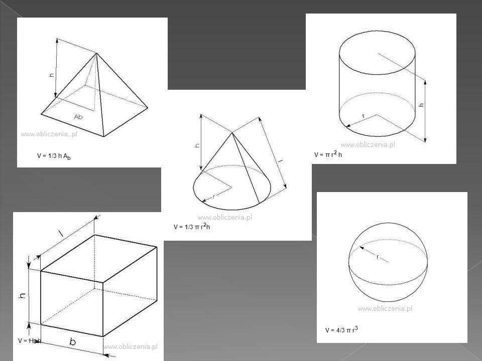 V = l b h V = π r 2 h V = 1/3 h A b V = 4/3 π r 3 V = 1/3 π r 2 h