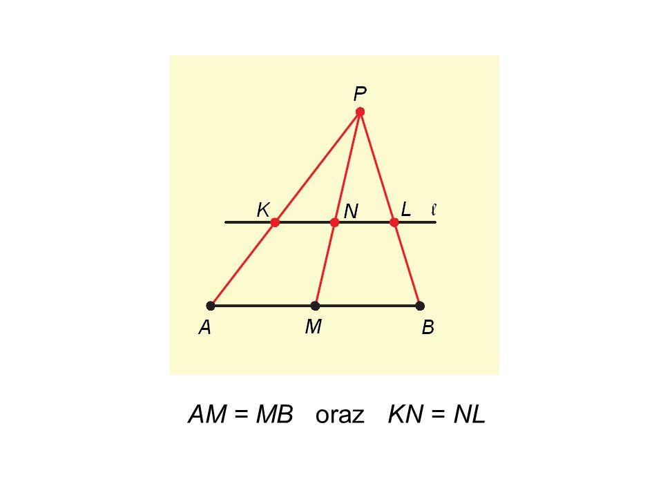 Powtarzamy konstrukcję – znajdujemy środki odcinków AM oraz MB