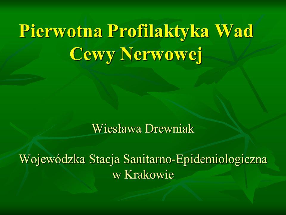 Pierwotna Profilaktyka Wad Cewy Nerwowej Wiesława Drewniak Wojewódzka Stacja Sanitarno-Epidemiologiczna w Krakowie