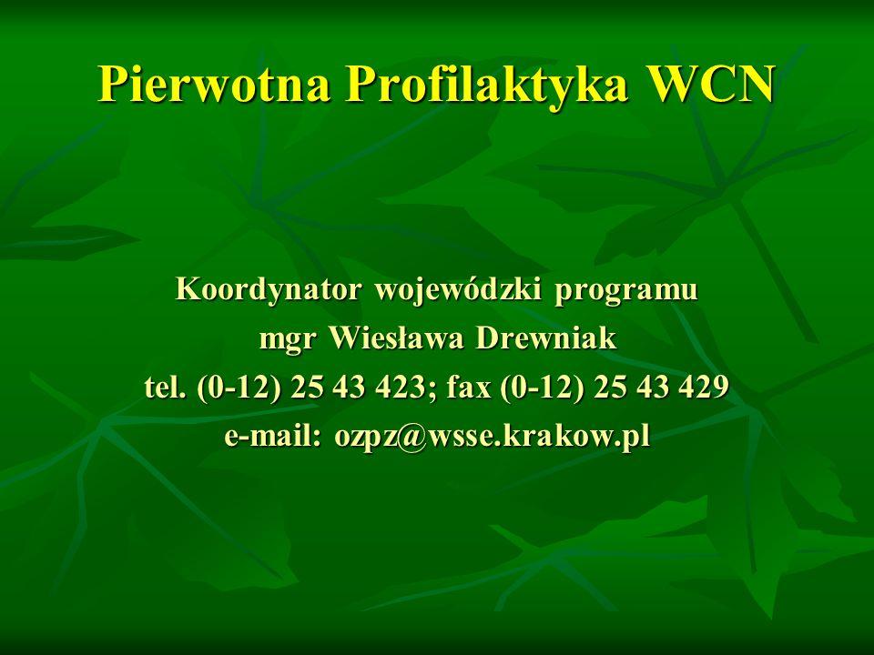 Pierwotna Profilaktyka WCN Koordynator wojewódzki programu mgr Wiesława Drewniak tel.