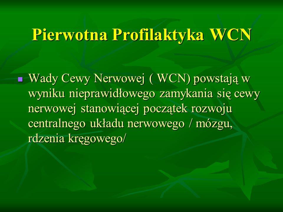Pierwotna Profilaktyka WCN Wady Cewy Nerwowej ( WCN) powstają w wyniku nieprawidłowego zamykania się cewy nerwowej stanowiącej początek rozwoju centralnego układu nerwowego / mózgu, rdzenia kręgowego/ Wady Cewy Nerwowej ( WCN) powstają w wyniku nieprawidłowego zamykania się cewy nerwowej stanowiącej początek rozwoju centralnego układu nerwowego / mózgu, rdzenia kręgowego/