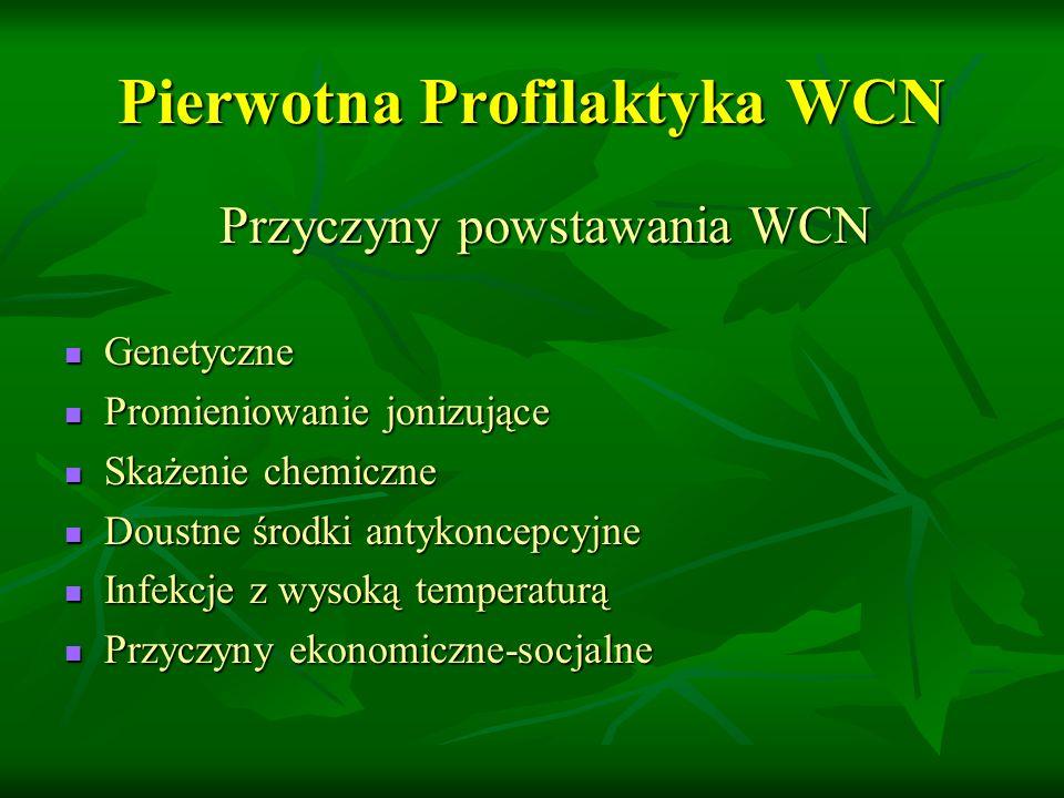Pierwotna Profilaktyka WCN Przyczyny powstawania WCN Przyczyny powstawania WCN Genetyczne Genetyczne Promieniowanie jonizujące Promieniowanie jonizujące Skażenie chemiczne Skażenie chemiczne Doustne środki antykoncepcyjne Doustne środki antykoncepcyjne Infekcje z wysoką temperaturą Infekcje z wysoką temperaturą Przyczyny ekonomiczne-socjalne Przyczyny ekonomiczne-socjalne