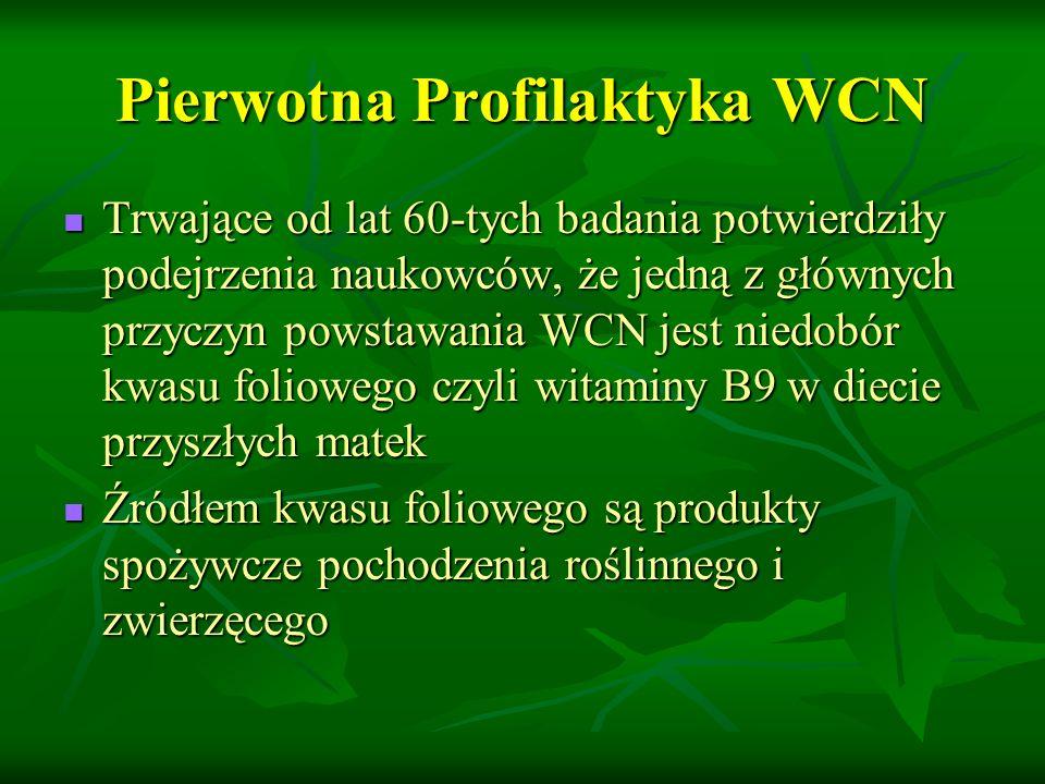 Pierwotna Profilaktyka WCN Trwające od lat 60-tych badania potwierdziły podejrzenia naukowców, że jedną z głównych przyczyn powstawania WCN jest niedobór kwasu foliowego czyli witaminy B9 w diecie przyszłych matek Trwające od lat 60-tych badania potwierdziły podejrzenia naukowców, że jedną z głównych przyczyn powstawania WCN jest niedobór kwasu foliowego czyli witaminy B9 w diecie przyszłych matek Źródłem kwasu foliowego są produkty spożywcze pochodzenia roślinnego i zwierzęcego Źródłem kwasu foliowego są produkty spożywcze pochodzenia roślinnego i zwierzęcego