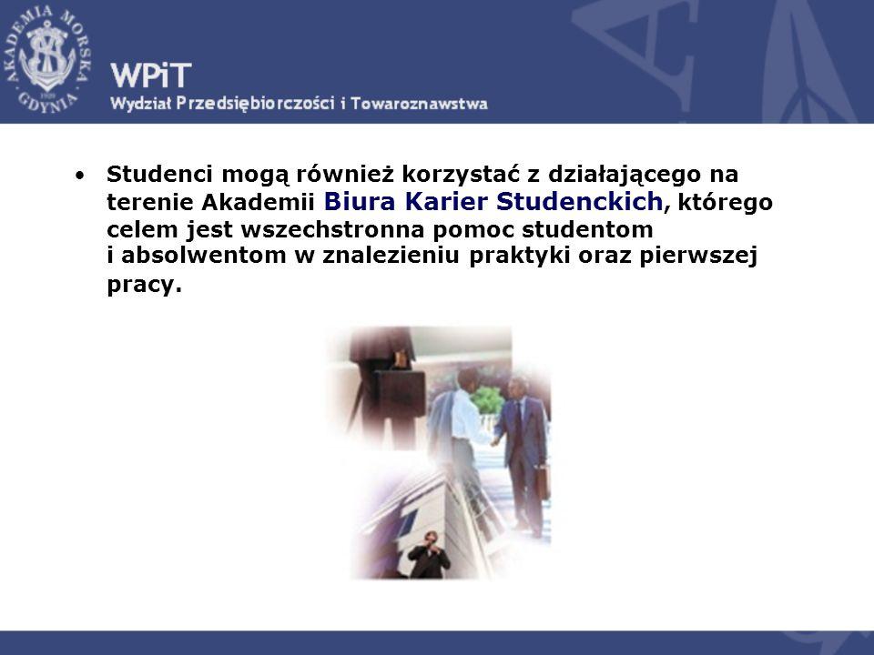 Studenci mogą również korzystać z działającego na terenie Akademii Biura Karier Studenckich, którego celem jest wszechstronna pomoc studentom i absolw