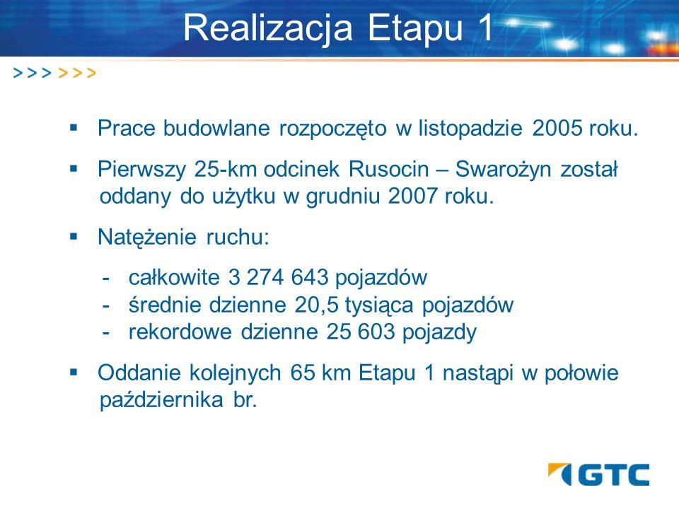 Prace budowlane rozpoczęto w listopadzie 2005 roku. Pierwszy 25-km odcinek Rusocin – Swarożyn został. oddany do użytku w grudniu 2007 roku. Natężenie
