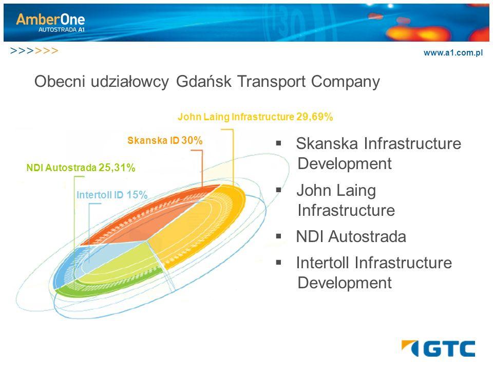 >>>>>> www.a1.com.pl Obecni udziałowcy Gdańsk Transport Company NDI Autostrada 25,31% Skanska ID 30% John Laing Infrastructure 29,69% Intertoll ID 15%.