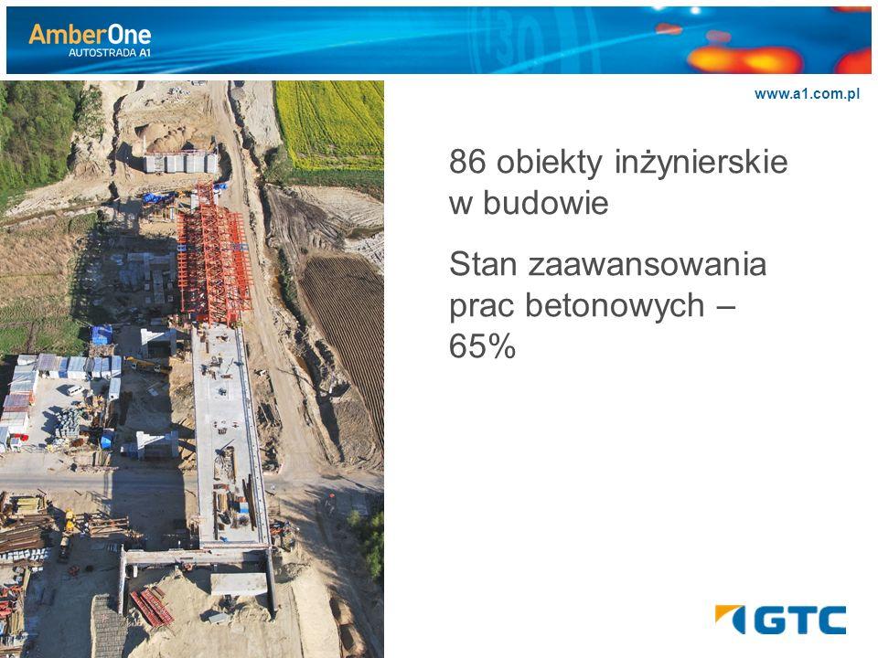 >>>>>> www.a1.com.pl 86 obiekty inżynierskie w budowie Stan zaawansowania prac betonowych – 65%