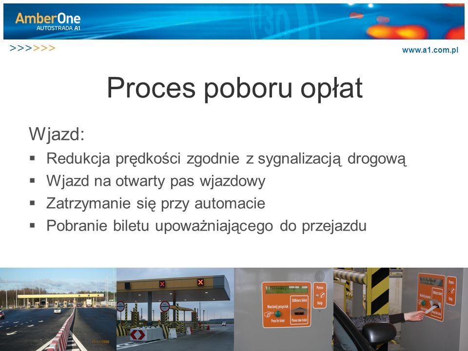 >>>>>> www.a1.com.pl Proces poboru opłat Zjazd: Redukcja prędkości po zjeździe z głównego pasa Wjazd na otwarty pas zjazdowy Naliczenie opłaty na podstawie biletu Wydanie paragonu fiskalnego po uiszczeniu opłaty