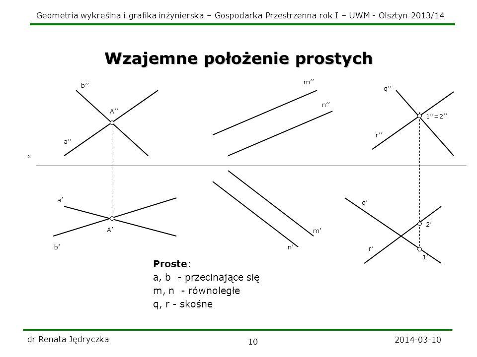 Geometria wykreślna i grafika inżynierska – Gospodarka Przestrzenna rok I – UWM - Olsztyn 2013/14 2014-03-10 dr Renata Jędryczka 10 Wzajemne położenie