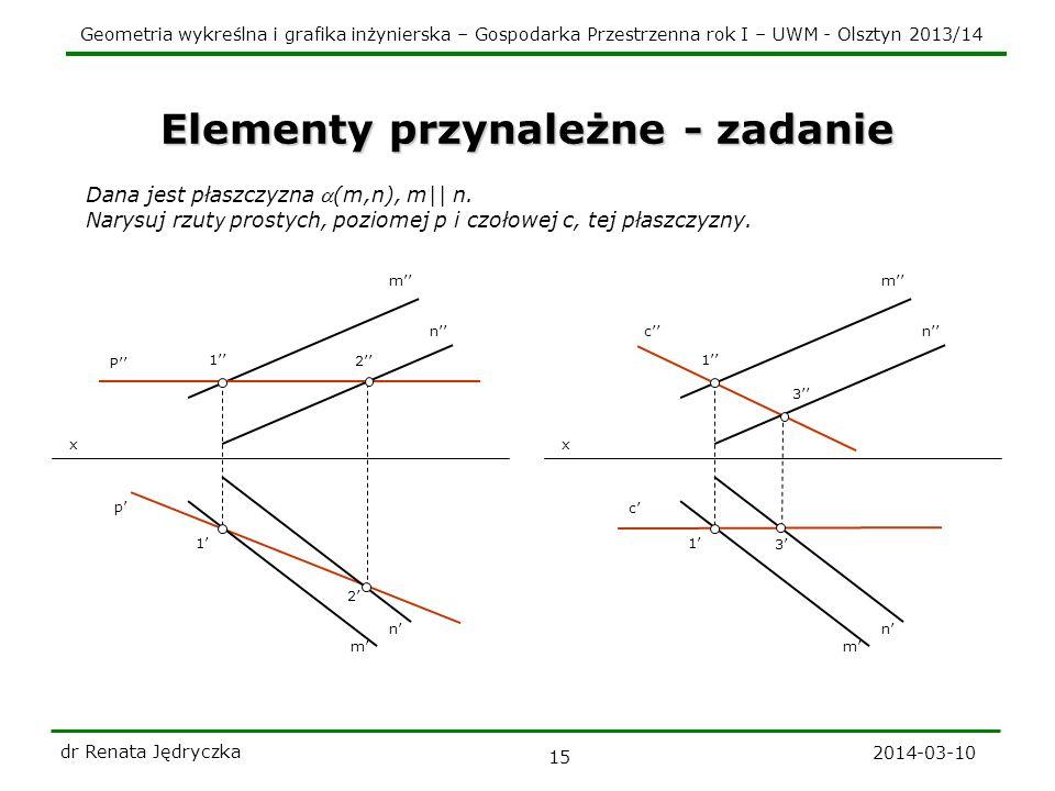 Geometria wykreślna i grafika inżynierska – Gospodarka Przestrzenna rok I – UWM - Olsztyn 2013/14 2014-03-10 dr Renata Jędryczka 15 Elementy przynależ