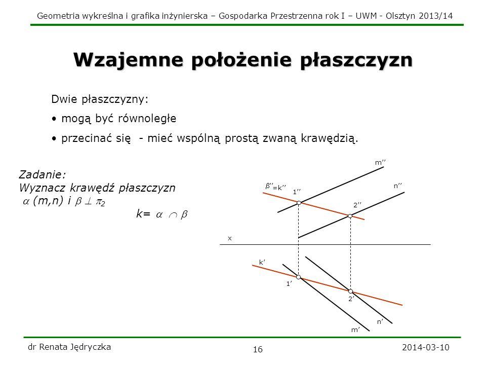 Geometria wykreślna i grafika inżynierska – Gospodarka Przestrzenna rok I – UWM - Olsztyn 2013/14 2014-03-10 dr Renata Jędryczka 16 k Wzajemne położen