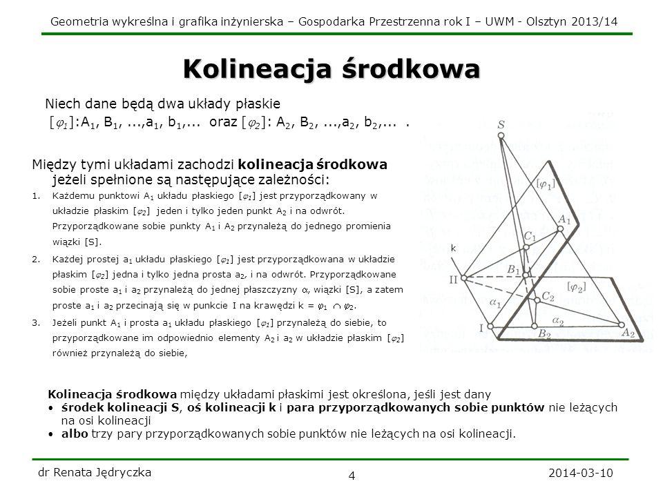 Geometria wykreślna i grafika inżynierska – Gospodarka Przestrzenna rok I – UWM - Olsztyn 2013/14 k 2014-03-10 dr Renata Jędryczka 4 Kolineacja środko
