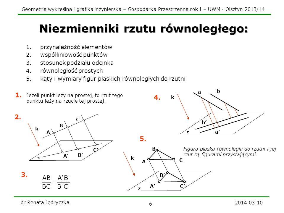 Geometria wykreślna i grafika inżynierska – Gospodarka Przestrzenna rok I – UWM - Olsztyn 2013/14 2014-03-10 dr Renata Jędryczka 6 Niezmienniki rzutu