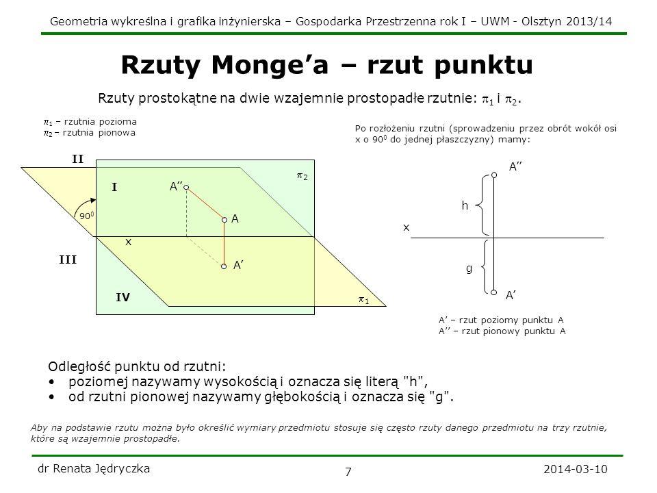 Geometria wykreślna i grafika inżynierska – Gospodarka Przestrzenna rok I – UWM - Olsztyn 2013/14 2014-03-10 dr Renata Jędryczka 7 Rzuty Mongea – rzut