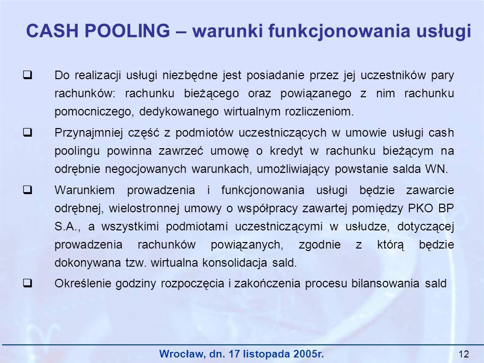 Wrocław, dn. 17 listopada 2005r. 12 CASH POOLING – warunki funkcjonowania usługi Do realizacji usługi niezbędne jest posiadanie przez jej uczestników