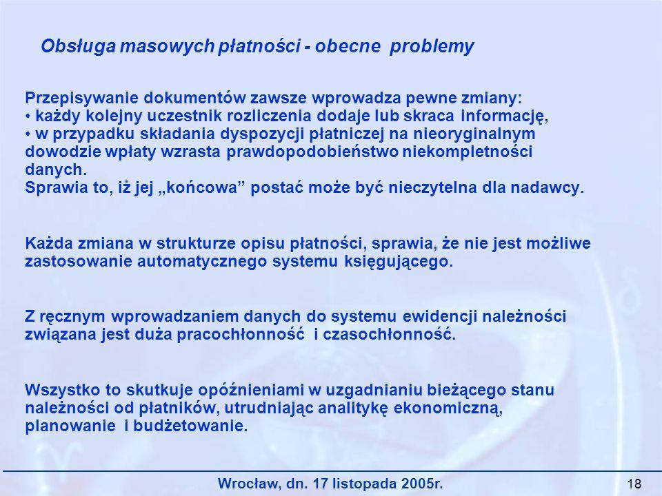 Wrocław, dn. 17 listopada 2005r. 18 Przepisywanie dokumentów zawsze wprowadza pewne zmiany: każdy kolejny uczestnik rozliczenia dodaje lub skraca info