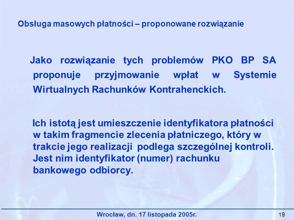 Wrocław, dn. 17 listopada 2005r. 19 Jako rozwiązanie tych problemów PKO BP SA proponuje przyjmowanie wpłat w Systemie Wirtualnych Rachunków Kontrahenc