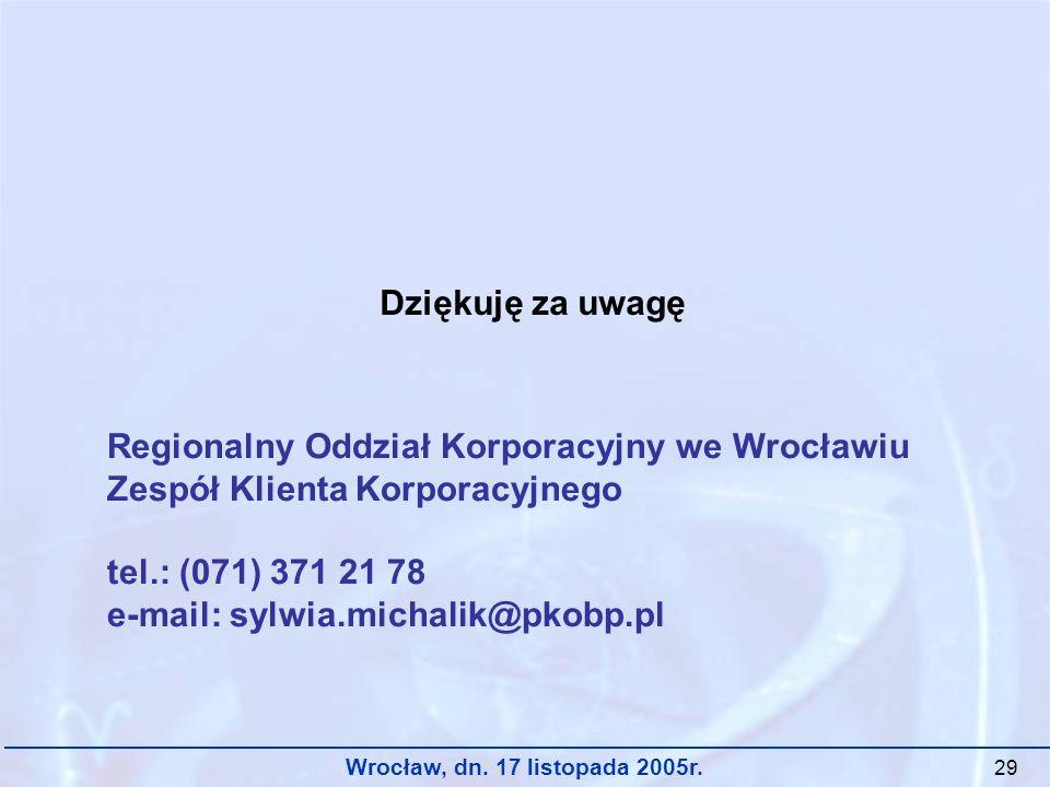Wrocław, dn. 17 listopada 2005r. 29 Dziękuję za uwagę Regionalny Oddział Korporacyjny we Wrocławiu Zespół Klienta Korporacyjnego tel.: (071) 371 21 78