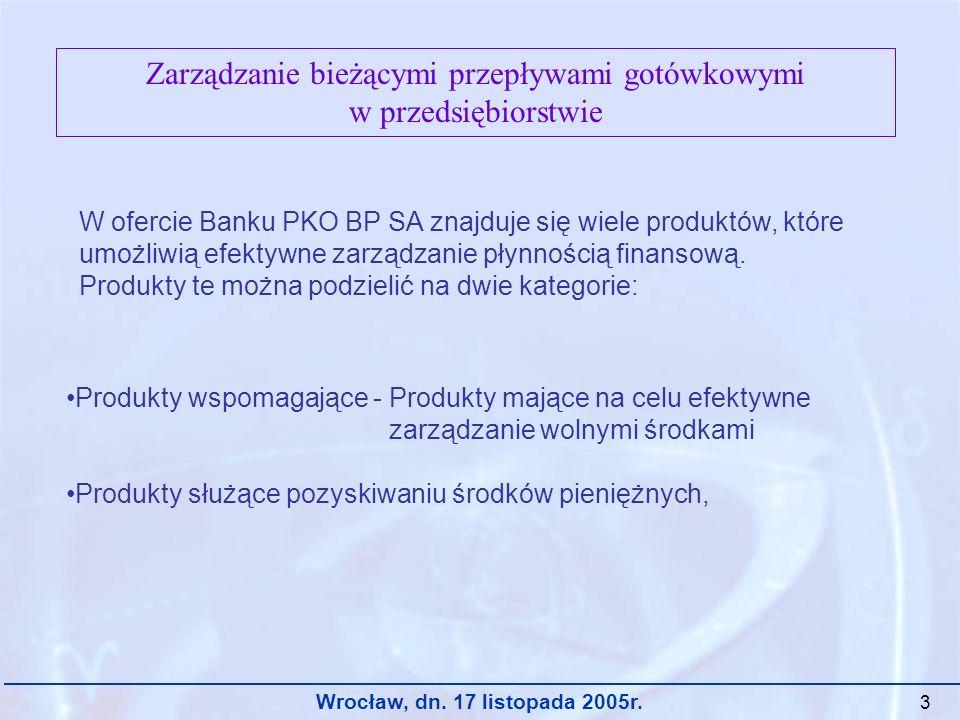 Wrocław, dn. 17 listopada 2005r. 3 Zarządzanie bieżącymi przepływami gotówkowymi w przedsiębiorstwie W ofercie Banku PKO BP SA znajduje się wiele prod