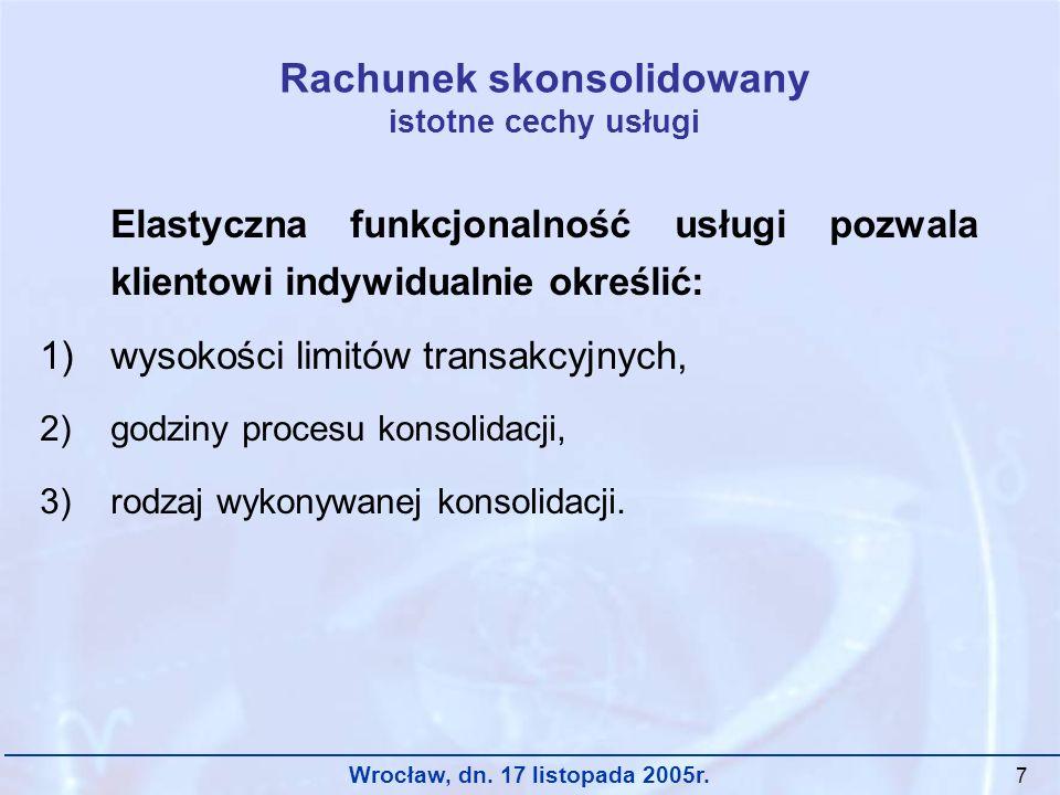 Wrocław, dn. 17 listopada 2005r. 7 Rachunek skonsolidowany istotne cechy usługi Elastyczna funkcjonalność usługi pozwala klientowi indywidualnie okreś
