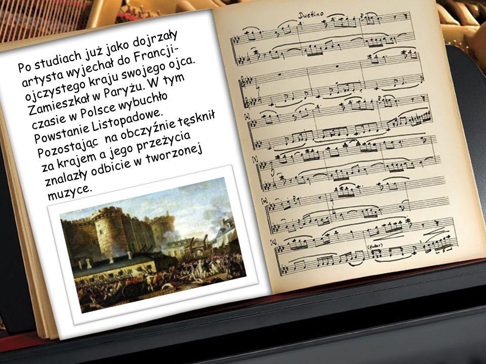 Jako student Szkoły Głównej Muzyki, Fryderyk miał już na swoim koncie szereg wydanych kompozycji (polonezy, marsze, ronda). Zarówno wówczas jak i w pó