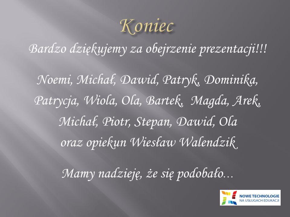 Bardzo dziękujemy za obejrzenie prezentacji!!! Noemi, Michał, Dawid, Patryk, Dominika, Patrycja, Wiola, Ola, Bartek, Magda, Arek, Michał, Piotr, Stepa