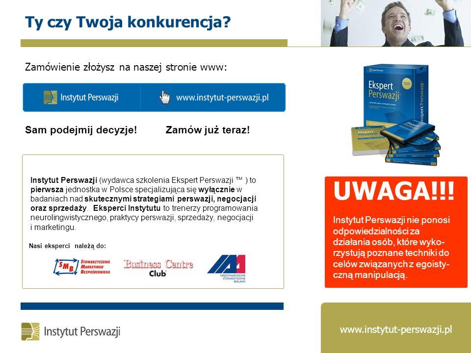 Nasi eksperci należą do: Instytut Perswazji (wydawca szkolenia Ekspert Perswazji ) to pierwsza jednostka w Polsce specjalizująca się wyłącznie w badan