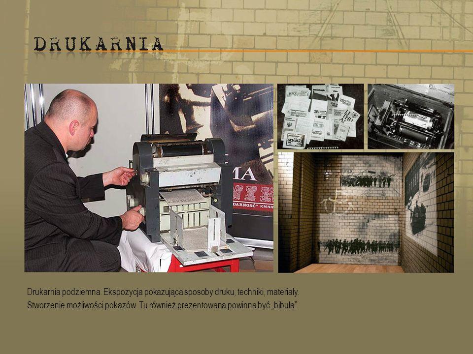 Drukarnia podziemna.Ekspozycja pokazująca sposoby druku, techniki, materiały.