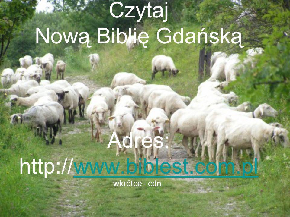 Czytaj Nową Biblię Gdańską Adres: http://www.biblest.com.plwww.biblest.com.pl wkrótce - cdn.