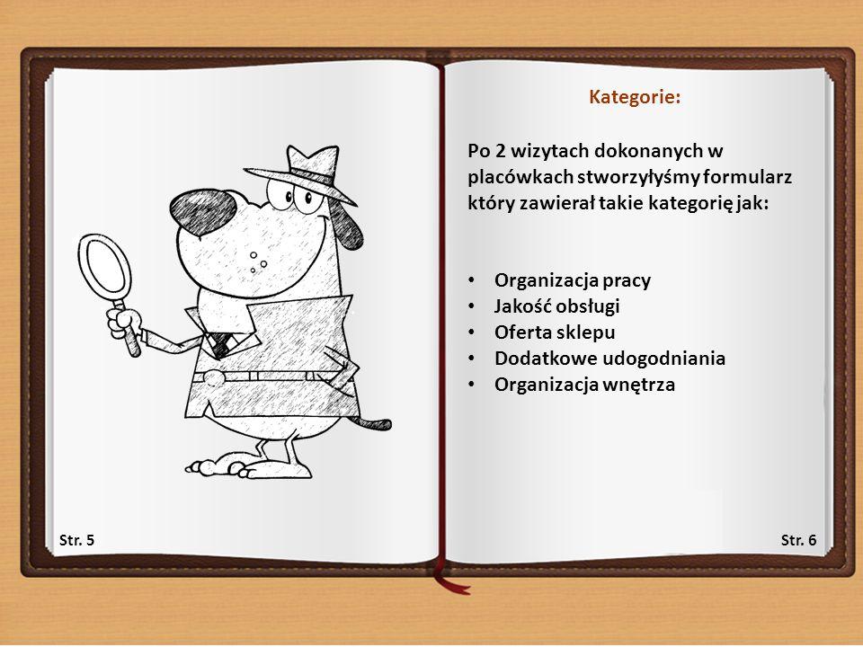 Kategorie: Po 2 wizytach dokonanych w placówkach stworzyłyśmy formularz który zawierał takie kategorię jak: Organizacja pracy Jakość obsługi Oferta sklepu Dodatkowe udogodniania Organizacja wnętrza Str.