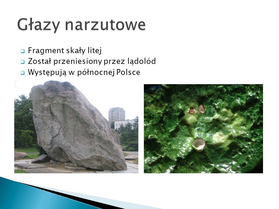Fragment skały litej Został przeniesiony przez lądolód Występują w północnej Polsce