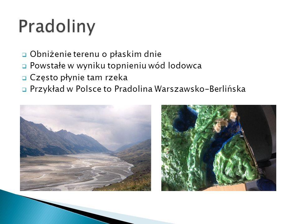 Obniżenie terenu o płaskim dnie Powstałe w wyniku topnieniu wód lodowca Często płynie tam rzeka Przykład w Polsce to Pradolina Warszawsko-Berlińska