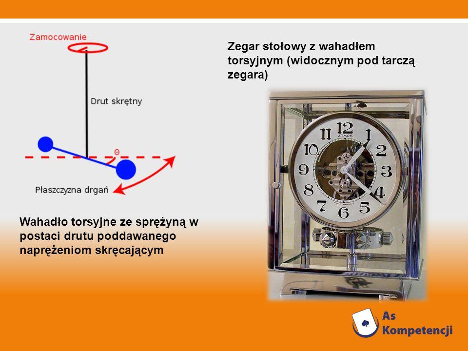 Zegar stołowy z wahadłem torsyjnym (widocznym pod tarczą zegara) Wahadło torsyjne ze sprężyną w postaci drutu poddawanego naprężeniom skręcającym