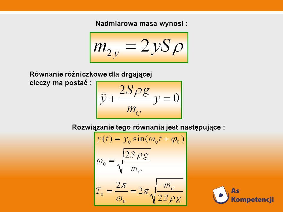Nadmiarowa masa wynosi : Równanie różniczkowe dla drgającej cieczy ma postać : Rozwiązanie tego równania jest następujące :