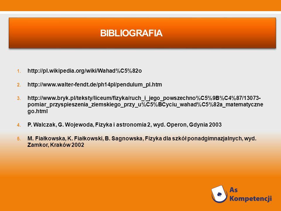 BIBLIOGRAFIA 1. http://pl.wikipedia.org/wiki/Wahad%C5%82o 2. http://www.walter-fendt.de/ph14pl/pendulum_pl.htm 3. http://www.bryk.pl/teksty/liceum/fiz