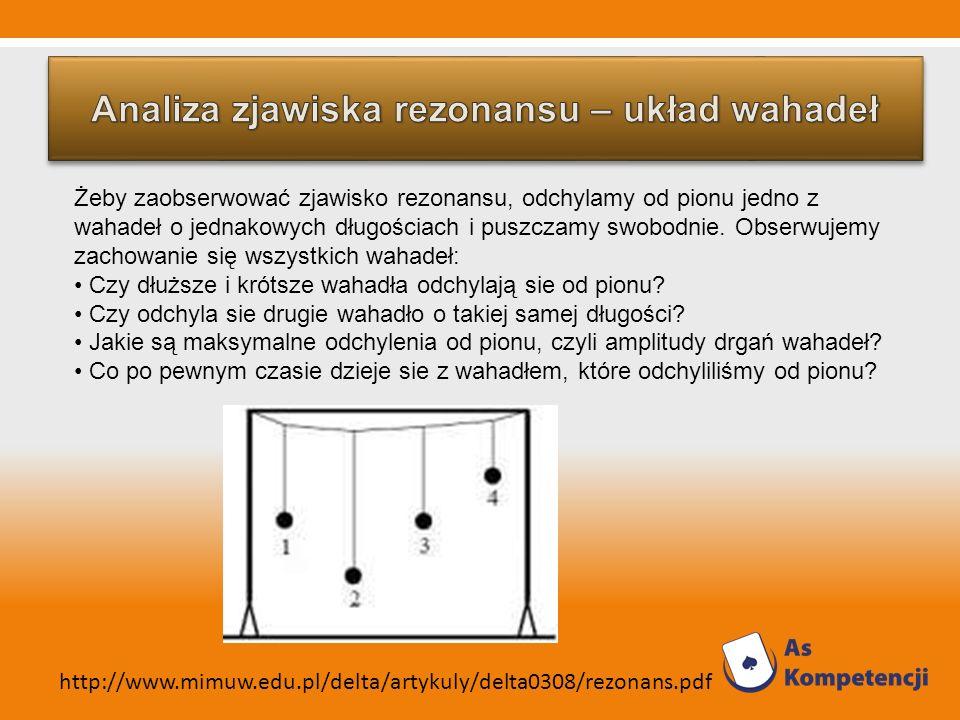 Żeby zaobserwować zjawisko rezonansu, odchylamy od pionu jedno z wahadeł o jednakowych długościach i puszczamy swobodnie. Obserwujemy zachowanie się w