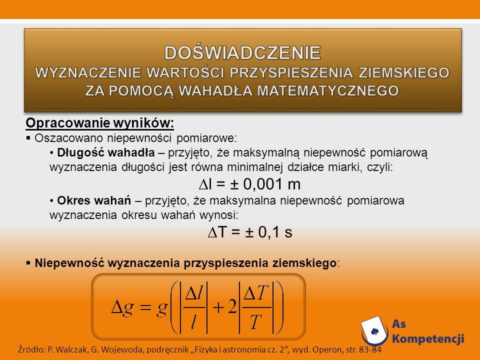 Opracowanie wyników: Oszacowano niepewności pomiarowe: Długość wahadła – przyjęto, że maksymalną niepewność pomiarową wyznaczenia długości jest równa minimalnej działce miarki, czyli: l = ± 0,001 m Okres wahań – przyjęto, że maksymalna niepewność pomiarowa wyznaczenia okresu wahań wynosi: T = ± 0,1 s Niepewność wyznaczenia przyspieszenia ziemskiego: Źródło: P.