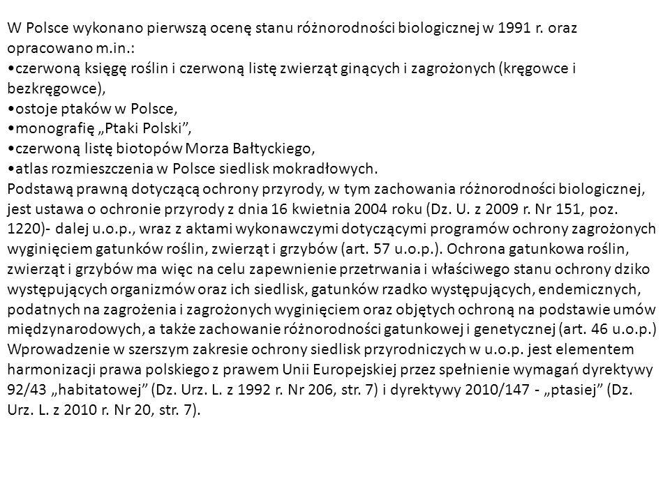 W Polsce wykonano pierwszą ocenę stanu różnorodności biologicznej w 1991 r. oraz opracowano m.in.: czerwoną księgę roślin i czerwoną listę zwierząt gi