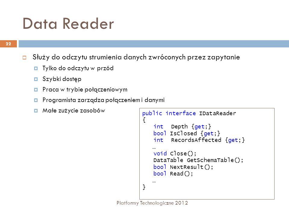 Data Reader Platformy Technologiczne 2012 22 Służy do odczytu strumienia danych zwróconych przez zapytanie Tylko do odczytu w przód Szybki dostęp Prac