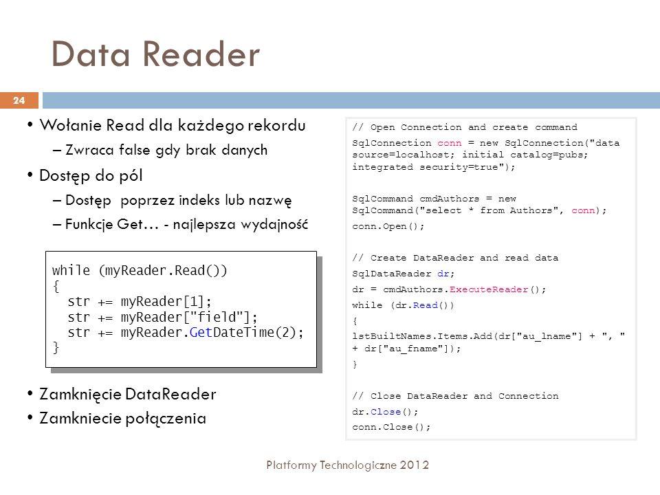 Data Reader 24 Platformy Technologiczne 2012 Wołanie Read dla każdego rekordu –Zwraca false gdy brak danych Dostęp do pól –Dostęp poprzez indeks lub n