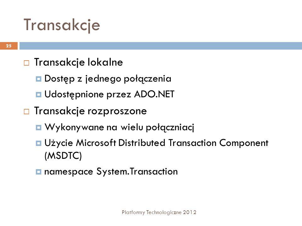 Transakcje Platformy Technologiczne 2012 25 Transakcje lokalne Dostęp z jednego połączenia Udostępnione przez ADO.NET Transakcje rozproszone Wykonywan
