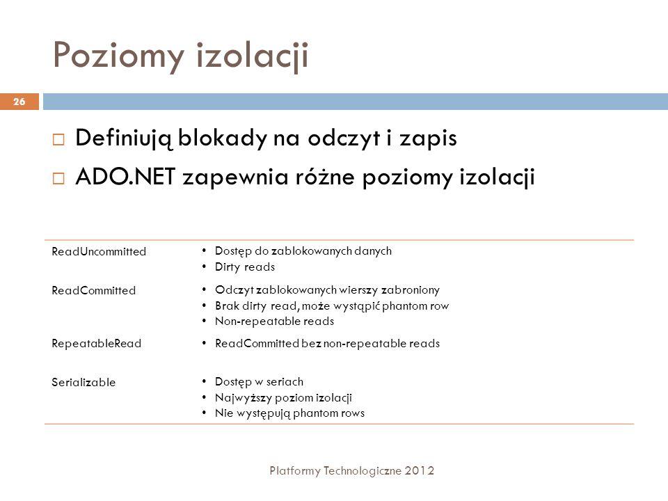 Poziomy izolacji Platformy Technologiczne 2012 26 Definiują blokady na odczyt i zapis ADO.NET zapewnia różne poziomy izolacji ReadUncommittedDostęp do