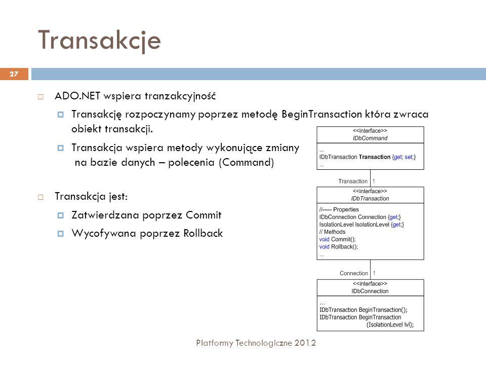 Transakcje Platformy Technologiczne 2012 27 ADO.NET wspiera tranzakcyjność Transakcję rozpoczynamy poprzez metodę BeginTransaction która zwraca obiekt