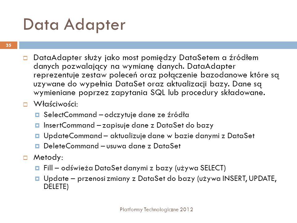 Data Adapter Platformy Technologiczne 2012 35 DataAdapter służy jako most pomiędzy DataSetem a źródłem danych pozwalający na wymianę danych. DataAdapt